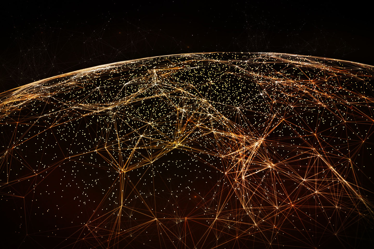Connection lines Around Earth Globe, Futuristic Technology  Theme Background with Light Effect